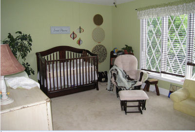 Our baby boy, Carter's, Brown and Green Baby Nursery Decor