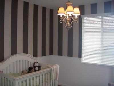 Brown Striped Nursery Walls - Dark and Light Brown Painted Wall Stripes in Our Baby Boy's Nursery
