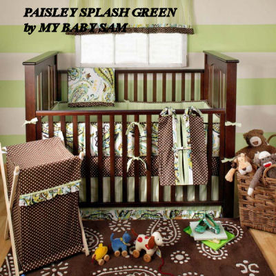 chocolate brown forest green baby bedding crib nursery