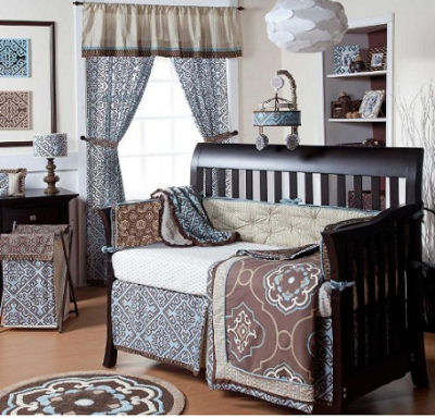 Elegant chocolate brown and baby blue damask nursery bedding set for a boy nursery room