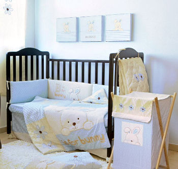 spring bunny rabbit baby nursery crib bedding set gender neutral