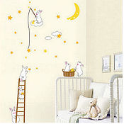 Baby bunny moon and stars nursery wall decals and stickers for a bunny themed room