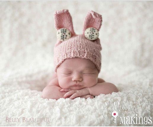 DIY knit bunny ears hat pattern for a baby girl.  Knitting pattern for a knitted hat with bunny rabbit ears.