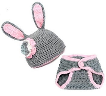Crochet baby bunny hat with ears for Easter photo prop