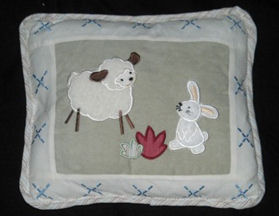 applique bunny little lamb baby crib quilt pillow nursery