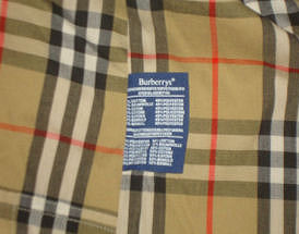 Authentic Burberry plaid fabric with label