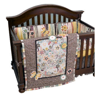 Butterfly and bugs theme crib bedding set in gender neutral earth tones
