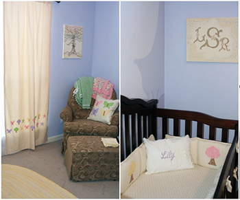 Butterfly baby bedding quilt with tree appliques and nursery curtains with butterfly appliques