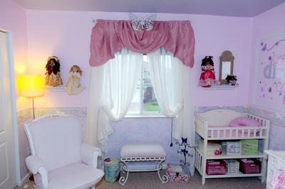 I made the nursery  window valance and drapes myself.