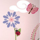 Butterfly and ladybug baby nursery wall stencil pattern template