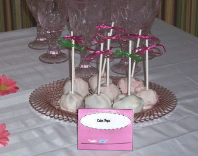 red velvet hot pink and green cake pops girl baby shower