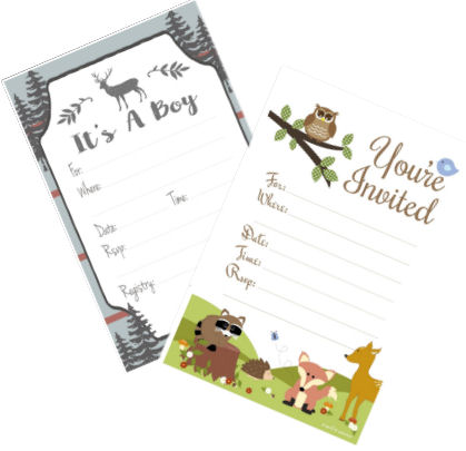 Camo baby shower invitations deer hunting theme forest animals nature theme