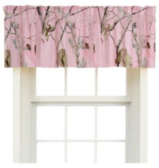 Realtree Pink Camouflage window valance topper for camo curtain panels