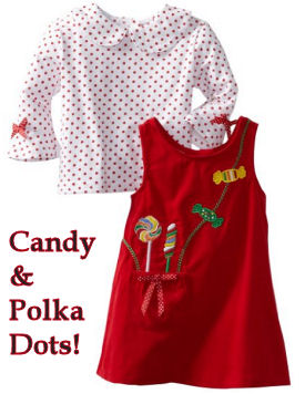 Baby girl Christmas dressed with holiday candy appliques on the pockets with a matching red and white polka dots onesie