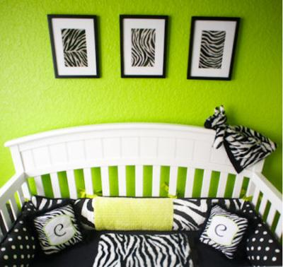 Carly's zebra print nursery bedding is bright and beautiful with the lime green wall paint color.