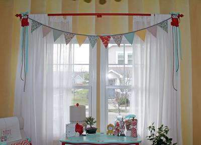 Owl and Bunting Banner Window Treatment