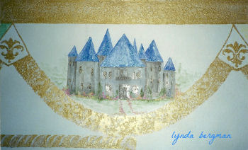 Royal prince castle mural for a baby boy nursery room theme