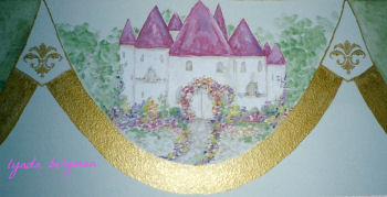 Pink fairytale princess castle mural for a baby girl nursery room theme