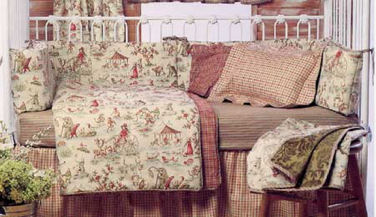Carousel Horse Baby Bedding Wonderland Park Banana Fish Vintage Toile Monkeys Horses Crib Sets Pink And