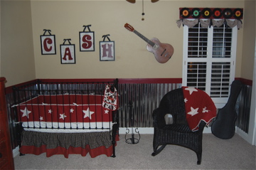 Baby Boy's Country and Western Guitar Nursery Theme Room Pictures