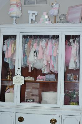 Shabby chic baby girl nursery closet organizing ideas