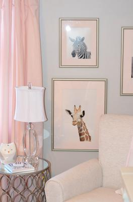 Custom zoo animal baby nursery wall art for a pink and grey baby girl room