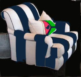 Navy blue and white striped upholstered nursery glider chair for modern baby room decor