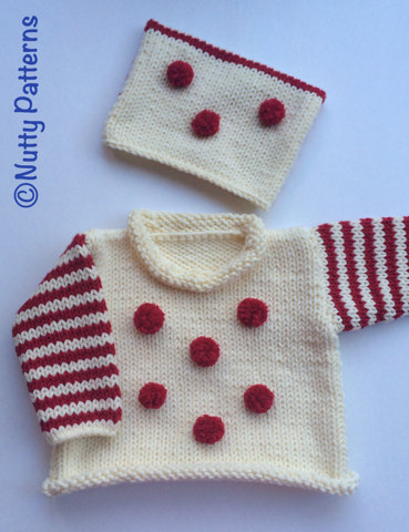 Winter snowman holiday Christmas sweater knitting pattern for a baby girl child kid with headband chunky yarn fast easy beginner.