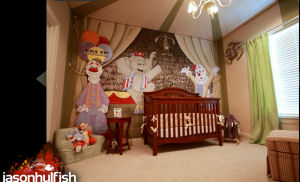 Circus nursery theme with tent ceiling and large personalized clowns