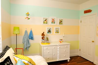 Gender Neutral Horizontal Nursery Wall Stripes in Yellow, Baby Blue and Cream