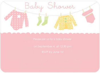 Clothesline baby shower invitation card in pink for a baby girl perfect for a diaper or onesie theme party