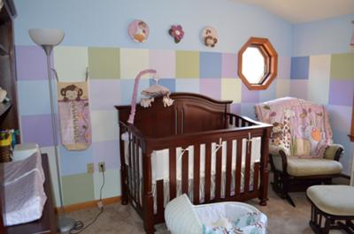 Color block wall painting technique.  A baby animal nursery ideas for a baby girl Including Shades of Lavender to complement the Cocalo Jacana bedding set