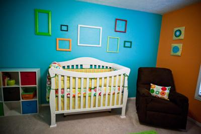 Colorful Geometric Baby Nursery Wall Decor in Aqua Blue, Lime Green and Orange!
