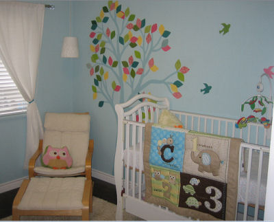 Piper's Colorful Baby Bird Nursery Tree Mural