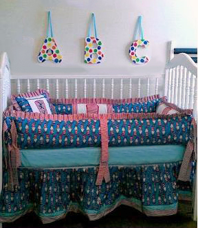 DIY Dr Seuss nursery wall art and custom Cat in the Hat Baby Crib Bedding Set