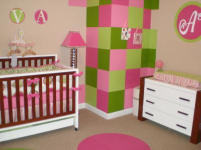 Baby Nursery  Ideas on New Wall Painting Techniques   Modern Pink And Lime Green Custom Baby