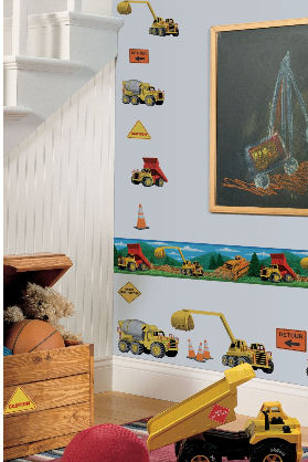 Construction dump trucks theme nursery wall decals wallpaper border and stickers