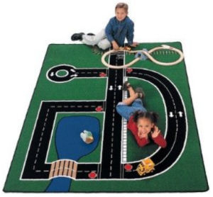 Construction themed nursery area rug play mat with roads dump trucks