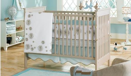 aqua baby contemporary modern baby nursery crib bedding set seals mobile white blue and brown