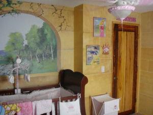 fairytale disney princess story book nursery theme baby girl custom painted wall mural