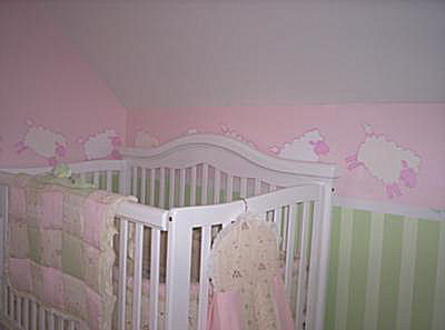 Pink and Green Baby Lamb Counting Sheep Baby Girl Nursery Room Theme