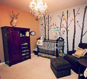 Country baby nursery themes featuring deer forest animals and wildlife