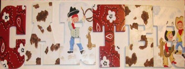 cowboy baby nursery wall letters custom retro western hanging