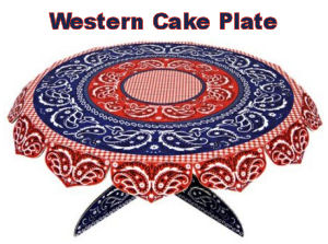 Red and blue western theme bandana print cake or cupcake stand for a cowboy theme baby shower