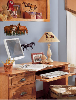 Western cowboy and horse wall stickers and decals for kids bedrooms and the baby nursery
