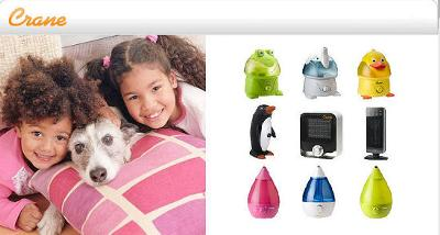 Crane Adorable Animal and Drops Humidifiers make breathing more comfortable for kids.