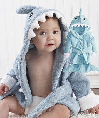 Baby Blue Shark Hooded Bath Towel for a Baby Boy