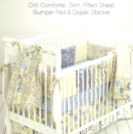 Crib skirt fitted sheet bumper pad and baby diaper stacker pattern