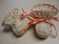 crocheted crochet baby booties