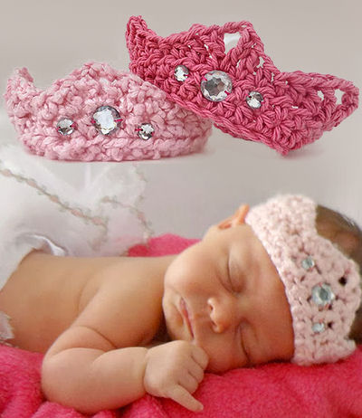 Crochet baby princess crown pattern with faux jewels photo prop wand